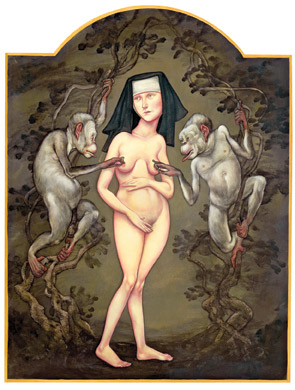 Nude woman in nun's habit with her breasts being poked by two monkeys